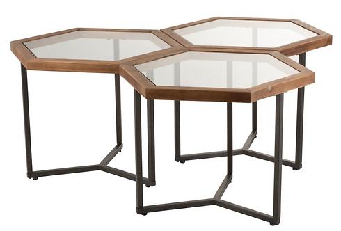 Set De 3 Tables D'appoint Hexagone