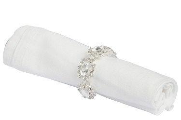 Boîte de 4 ronds de serviette argent 4 fleurs strass blanc