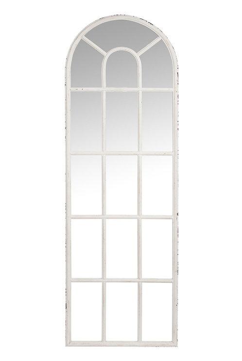 Miroir Fenêtre Arrondi Metal Blanc Antique