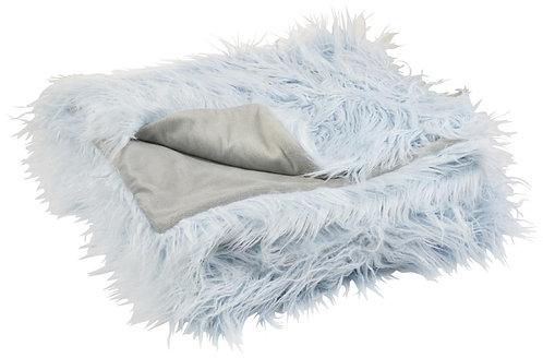 Plaid Poils Longs Fourrure Bleu