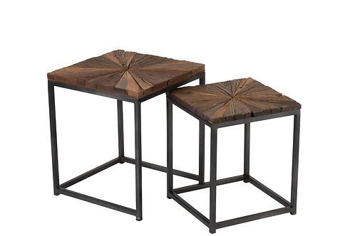 Set De 2 Table Gigogne Shanil Bois/Metal Naturel/Gris