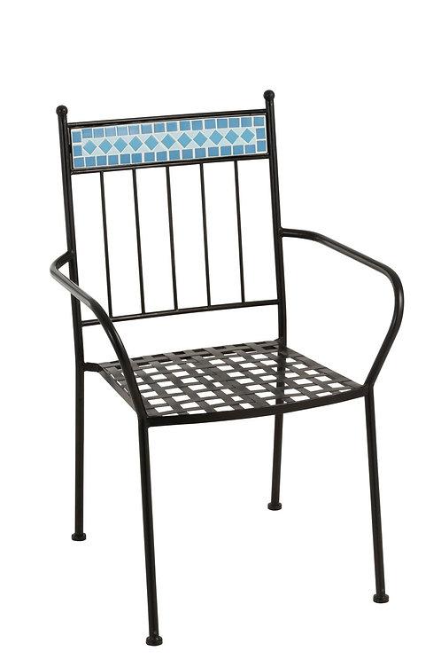 Chaise Mosaique Metal/Ceramique Bleu