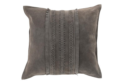 Coussin Bord Carre Cuir Gris