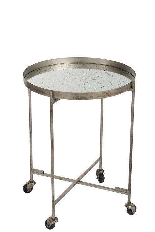 Table Gigogne Roues Miroir Marron Antique