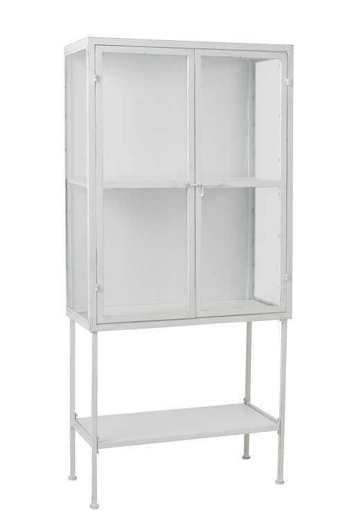 Armoire 3 Planches Metal/Verre Blanc