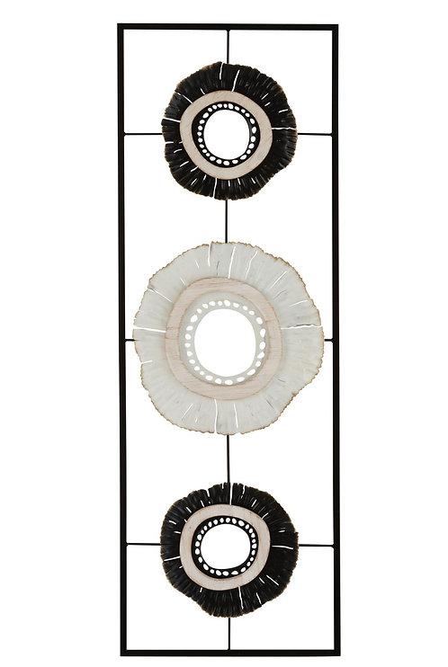 Décoration Murale Double Cercle Métal Blanc/Noir