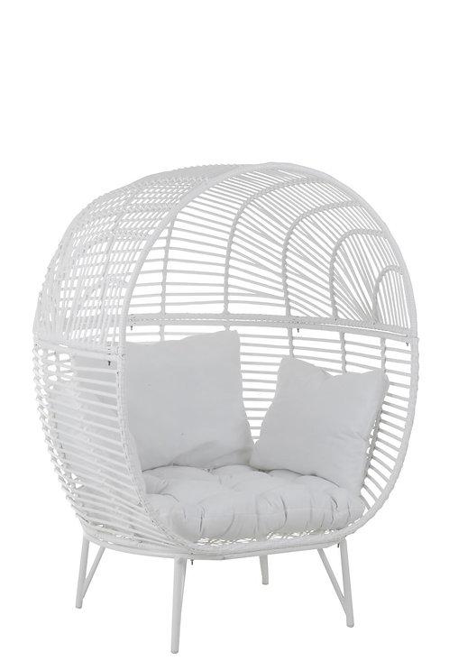 Chaise Lounge Ovale Acier Blanc