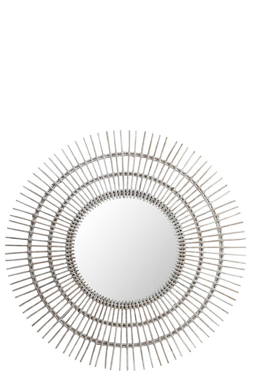 Miroir Rond Ethnique Rotin Blanc Large
