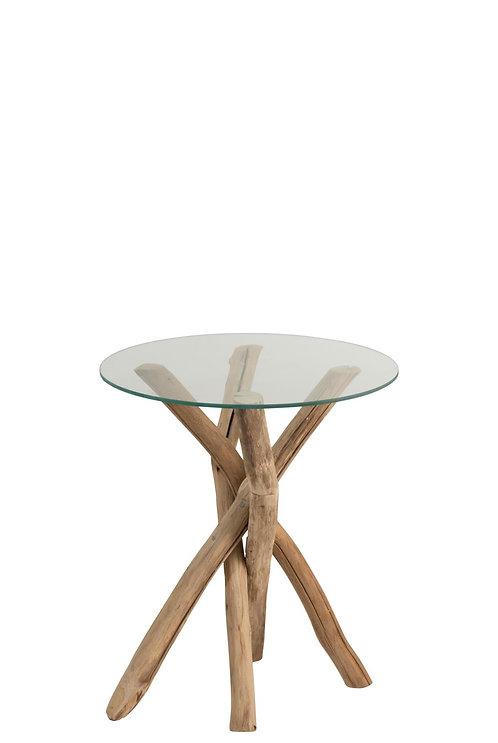 Table D'appoint Branches Bois/Verre Naturel