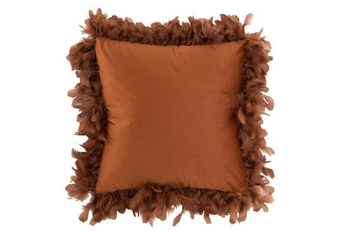 Coussin Plumes Polyester Rouille