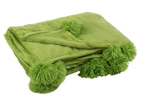 Plaid Pompon Polyester Vert Gazon