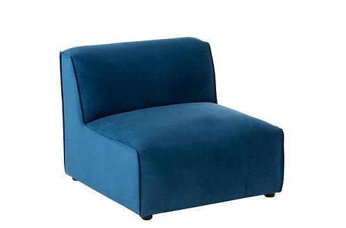 Fauteuil Droit Textile/Bois Bleu