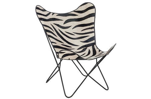 Chaise Salon Cuir/ Metal Zebre