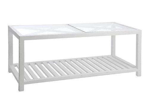 Table De Salon Rectangulaire Croix Bois/Verre Blanc