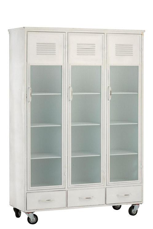 Armoire 3 Portes/3 Tiroirs Metal Blanc
