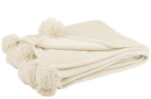 Plaid Pompon Polyester Creme