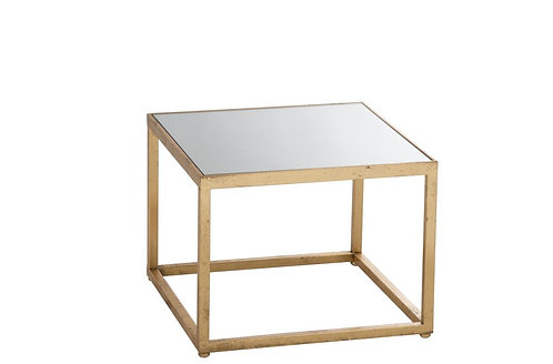 Table Gigogne Carre Metal/Verre Or