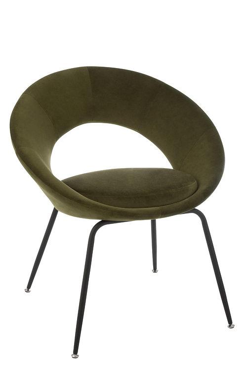 Chaise Ronde Metal Trou Metal/Textile Vert