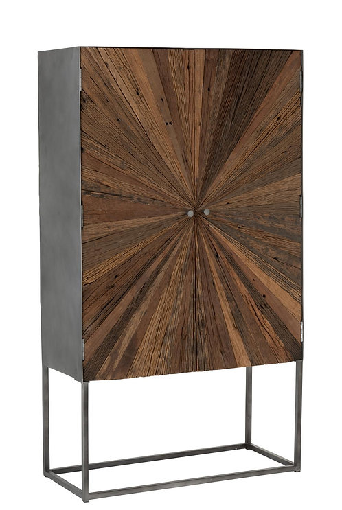 Armoire Bar Shanil 2 Portes Bois/Metal Naturel/Gris