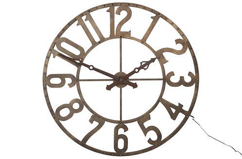 Horloge Chiffres Romains Rond Fer Forge Marron