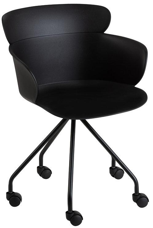 Chaise Eva à Roulettes Noir