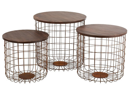 Set De 3 Table Gigogne Panier Metal Rouille