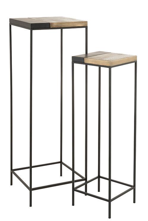 Set De 2 Table Gigogne Haute Metal Or/Noir