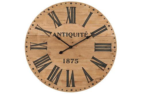 Horloge Chiffres Romain Bois Naturel/Noir Large