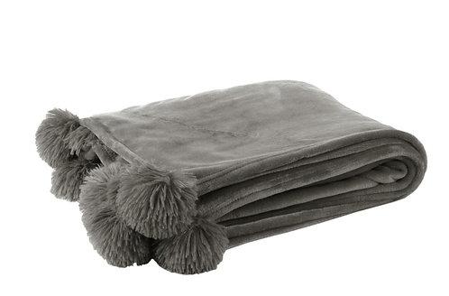Plaid Pompon Polyester Gris
