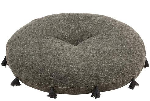 Pouf Rond Floche Coton Gris/Noir
