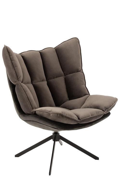 Chaise Relax Coussin Sur Pied Textile/Metal Gris