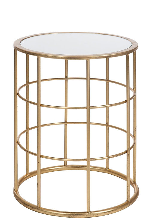 Table Gigogne Barre Metal/Verre Or