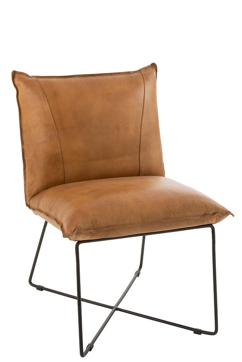 Chaise Lounge Avi Cuir/Fer Camel