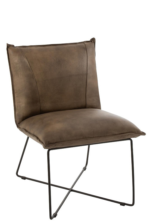 Chaise Lounge Avi Cuir/Fer Gris-Vert