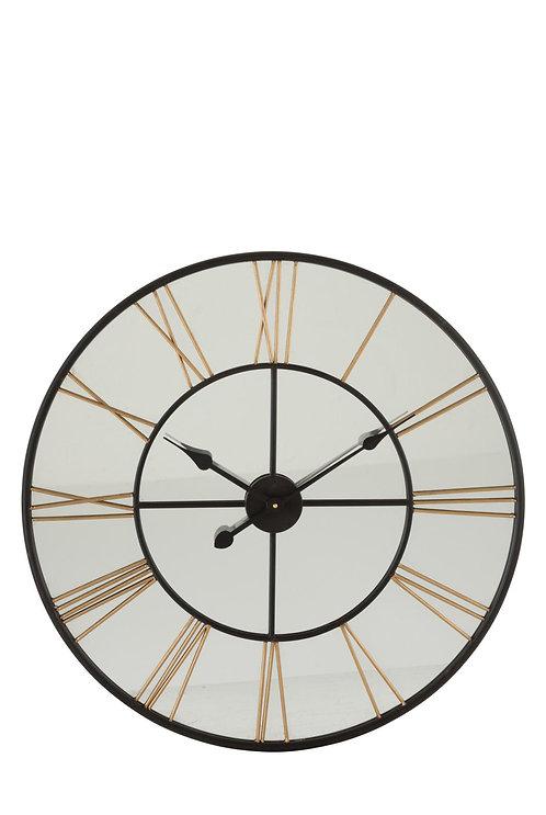 Horloge Chiffres Romains Miroir/Metal Noir/Or