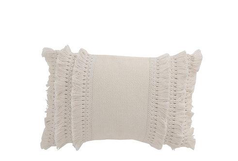 Coussin Rectangulaire Bord Floches Coton Blanc