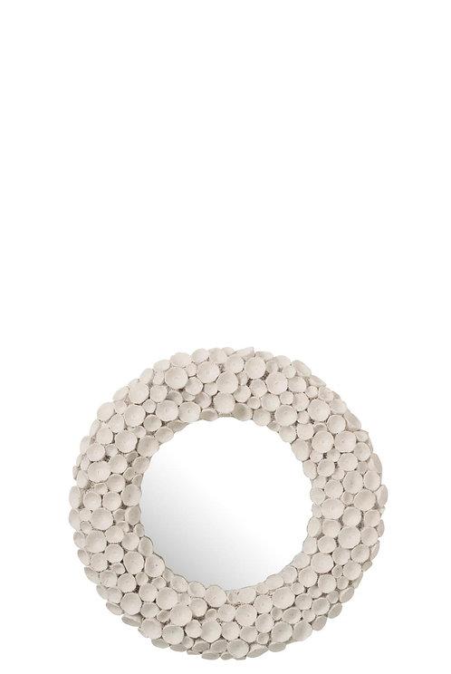 Miroir Fleurs Resine Blanc Small