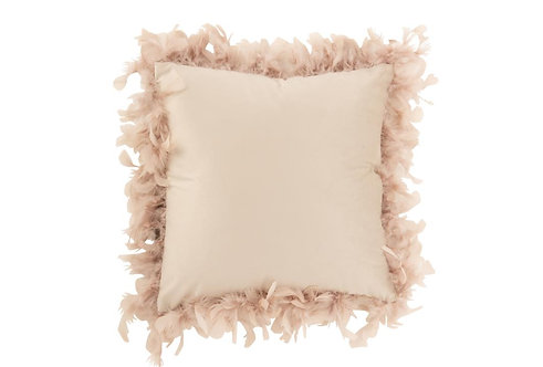 Coussin Plumes Polyester Rose Poudre