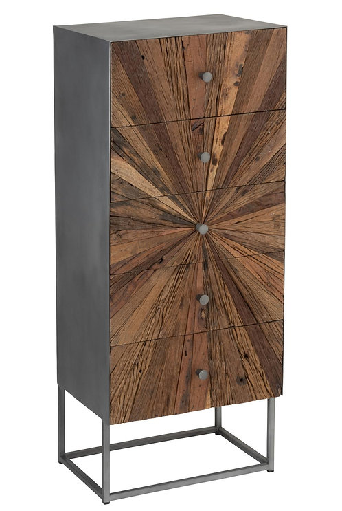 Armoire Shanil 5 Tiroirs Bois/Metal Naturel/Gris