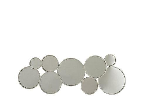 Miroir 9 Ronds Metal Argent