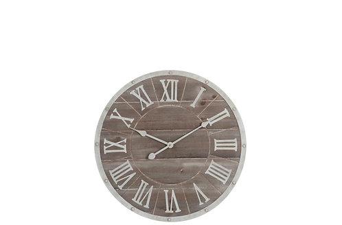 Horloge Ronde Chiffres Romains Metal/Mdf Marron/Blanc Small