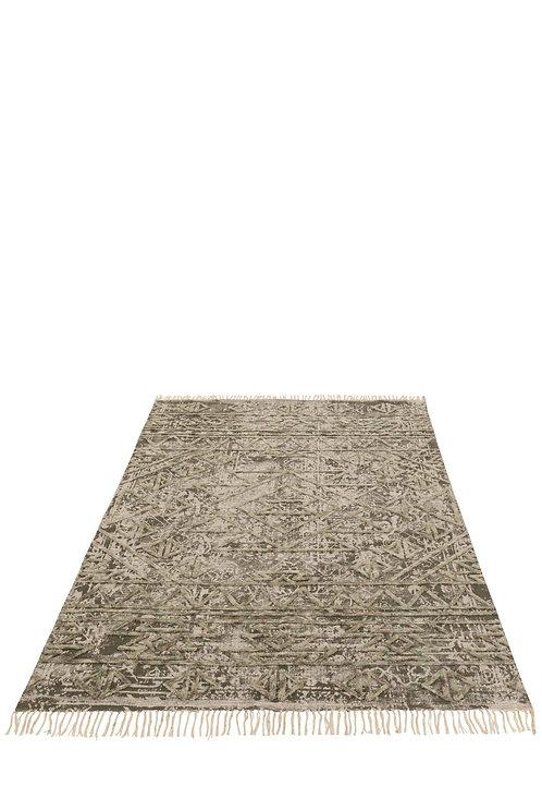 Tapis Motif Coton Carre Gris/Vert