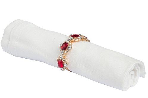 Boîte de 4 ronds de serviette or 4 fleurs strass rouge/blanc