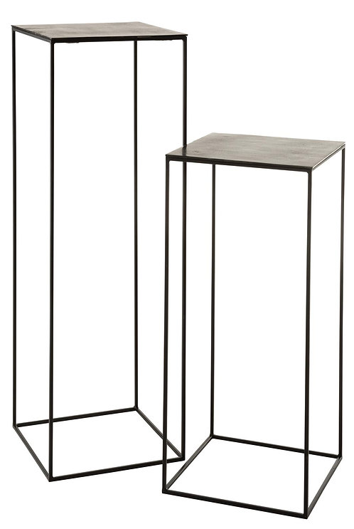 Set De 2 Table Gigogne Haute Carree Oxidize Aluminium/Metal Antique Noir/Vert