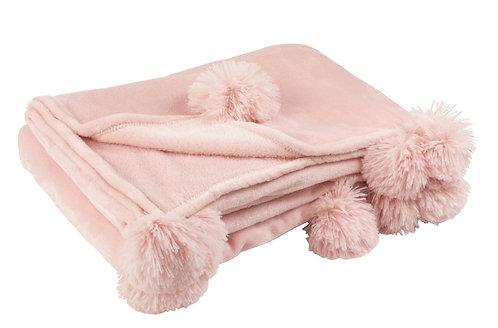 Plaid Pompon Polyester Rose Poudré