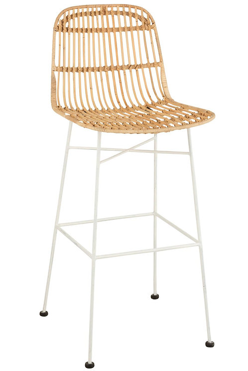 Chaise De Bar Ema Rotin/Metal Naturel/Blanc