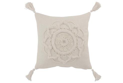 Coussin Fleur + Floches Coton Blanc