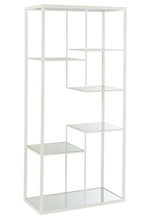 Etagere 5 Planches Metal/Verre Blanc