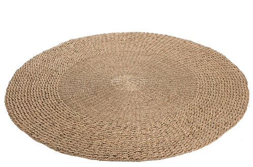 Tapis Rond Tresse Zostere Naturel