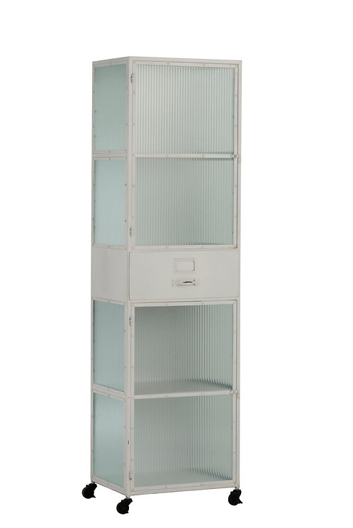 Armoire Haute 2 Portes/1 Tiroir Metal Blanc